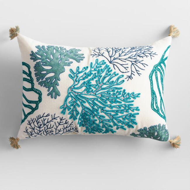 Blue Embroidered Reef Indoor Outdoor Lumbar Pillow