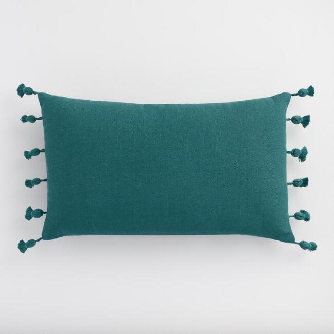 Oversized Dark Teal Tassel Indoor Outdoor Lumbar Pillow