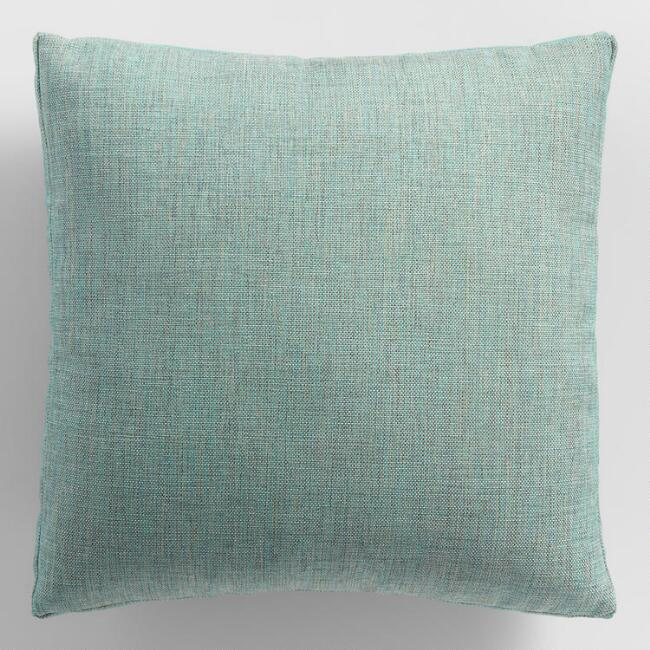 Aqua Gusseted Outdoor Throw Pillow