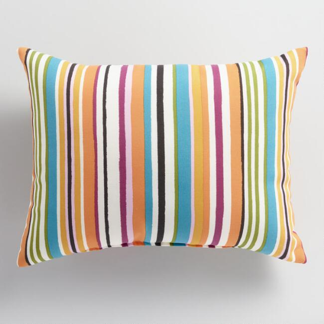 Multicolored Stripe Outdoor Lumbar Pillow