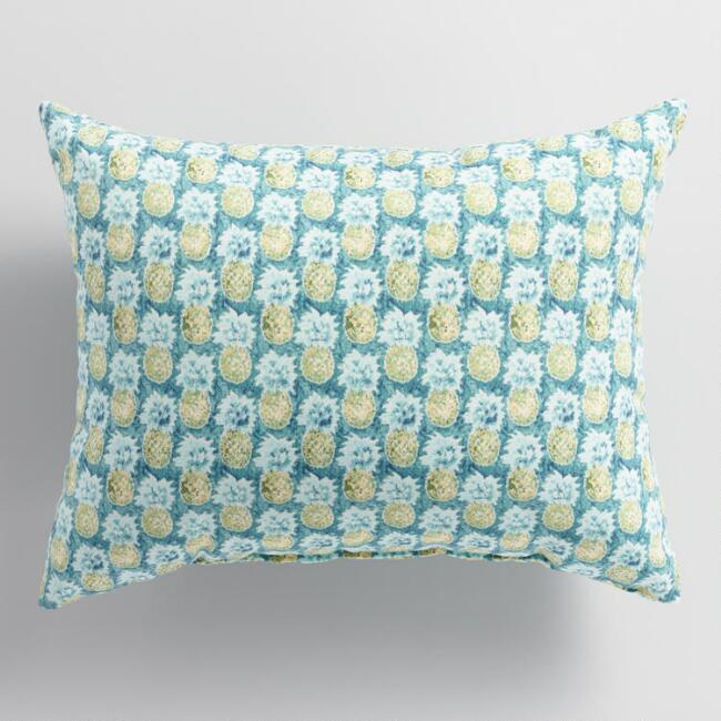 Teal Paloma Pineapple Outdoor Lumbar Pillow