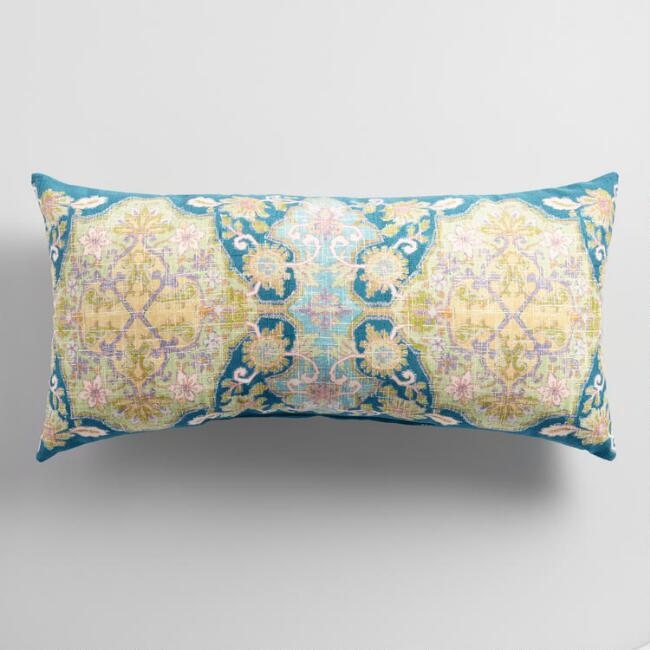 Oversized Cool Floral Isabella Outdoor Lumbar Pillow