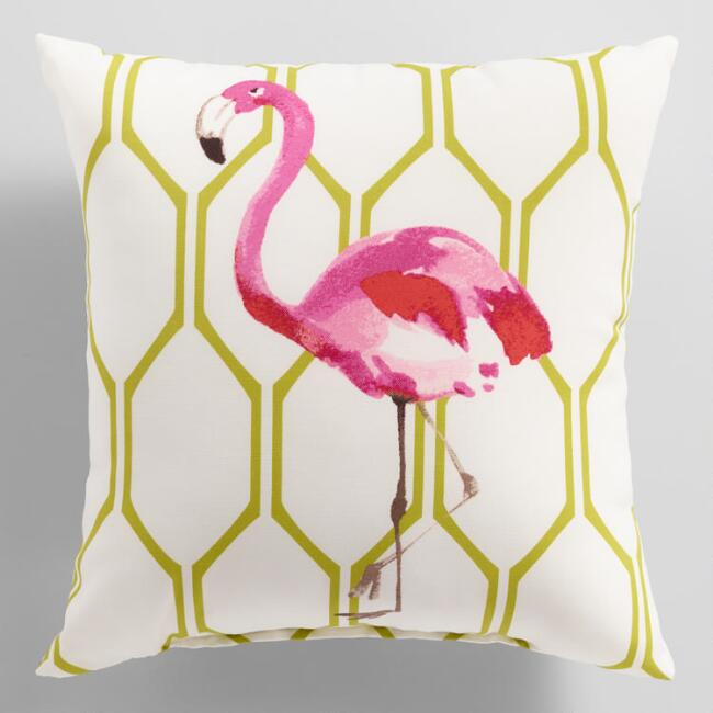 Watercolor Flamingo Outdoor Throw Pillow