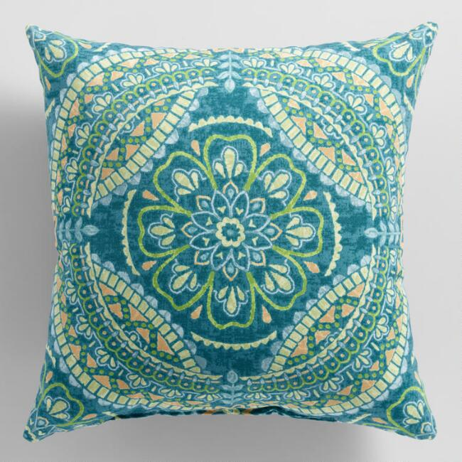 Green Tile Kasey Outdoor Throw Pillow