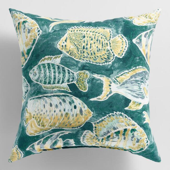 Green Fish Outdoor Throw Pillow