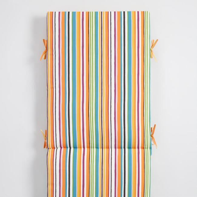 Multicolored Stripe Outdoor Chaise Lounge Cushion