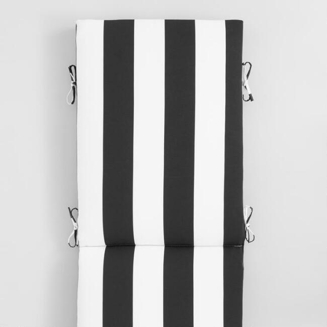 Black & White Awning Stripe Outdoor Chaise Lounge Cushion