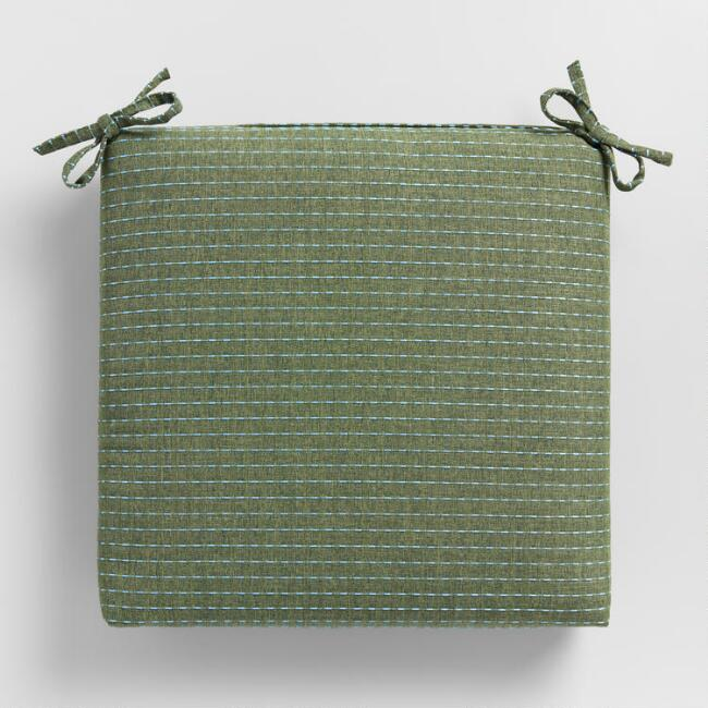 Olive Green Overstitched Outdoor Chair Cushion
