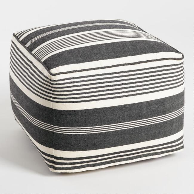Black And White Stripe Indoor Outdoor Pouf
