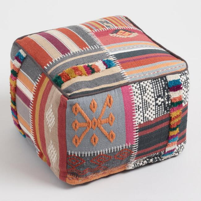 Multicolored Kilim Patchwork Indoor Outdoor Pouf