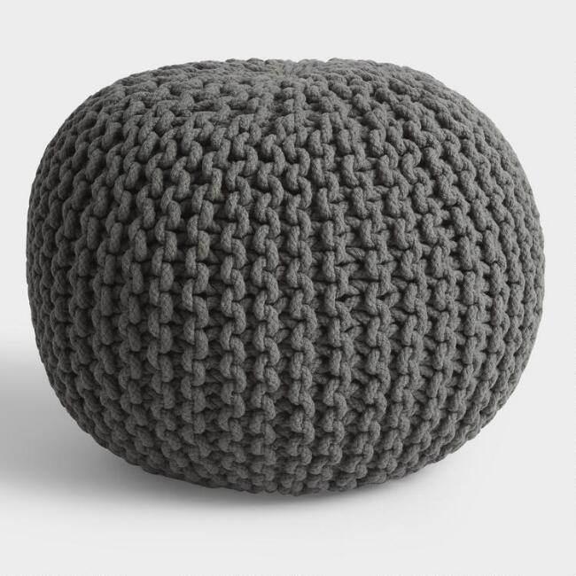 Round Gray Knit Indoor Outdoor Pouf