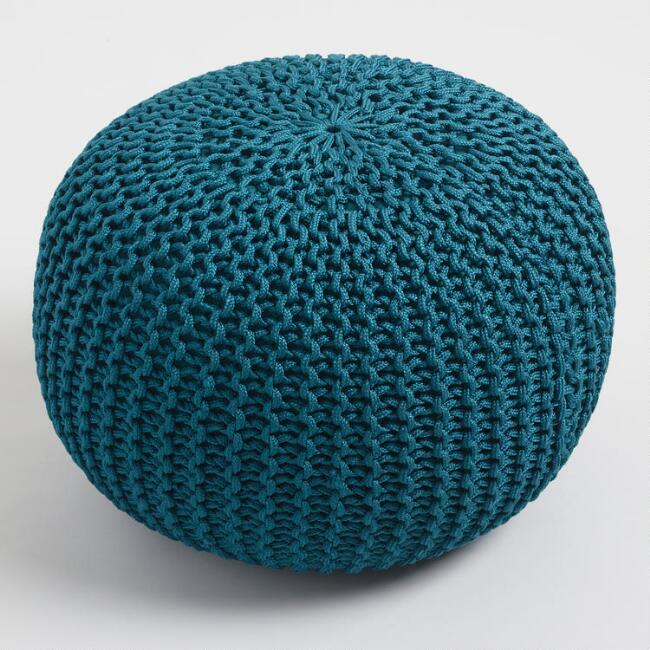 Round Dark Teal Knit Indoor Outdoor Pouf