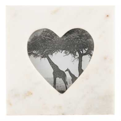 Square White Marble Heart Frame