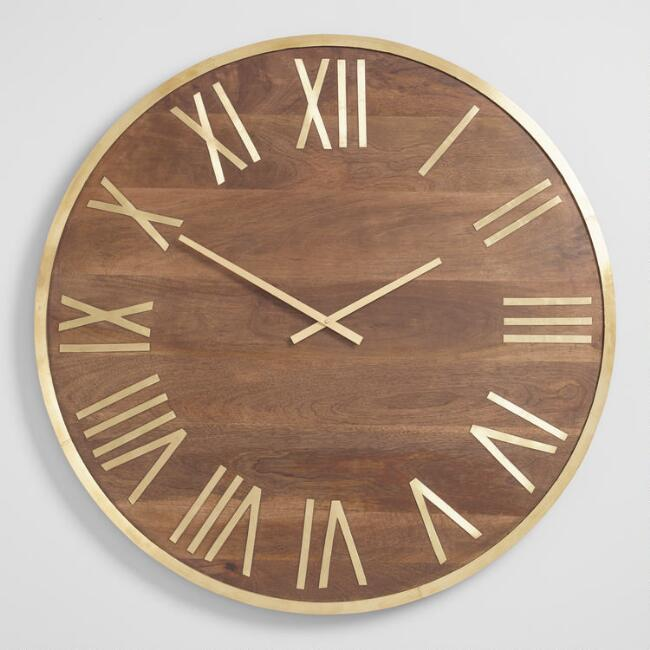 Round Wood and Brass Wall Clock