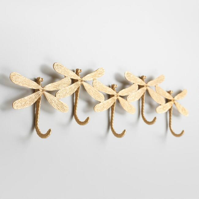Gold Dragonfly 5 Hook Wall Rack