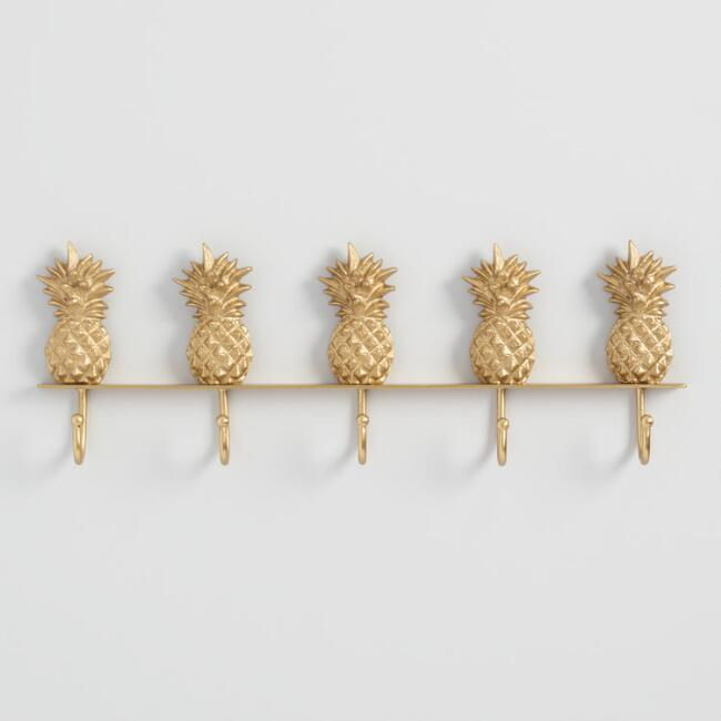Gold Pineapple 5 Hook Wall Rack