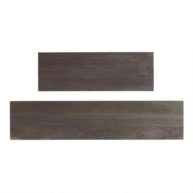 Espresso Wood and Gold Inlay Mix & Match Wall Shelves