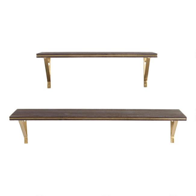 Espresso Wood and Gold Mix & Match Wall Shelf Collection