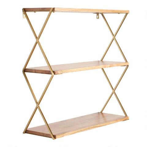 watch 61e50 081e1 Natural Wood and Gold 3 Tier Wall Shelf