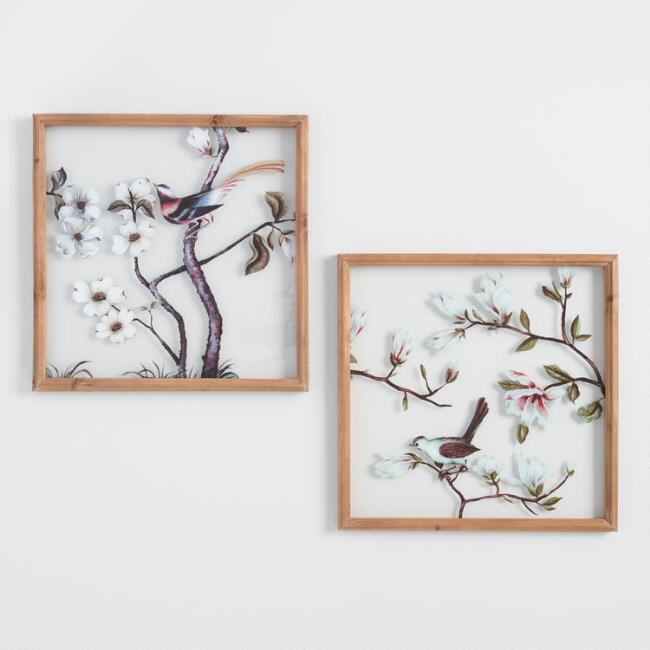 Birds and Blossoms Glass Pane Wall Art Set of 2