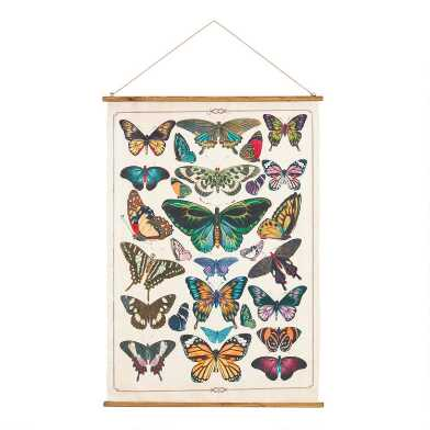 Butterfly Linen Scroll Wall Hanging