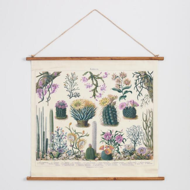 Flowering Cactus Linen Scroll Wall Hanging