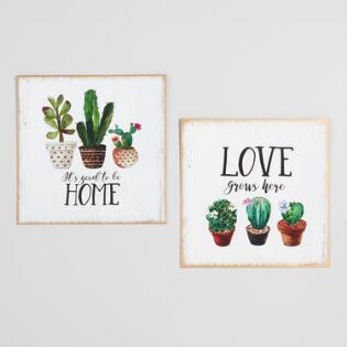 Metal Cactus Home Signs Set Of 2