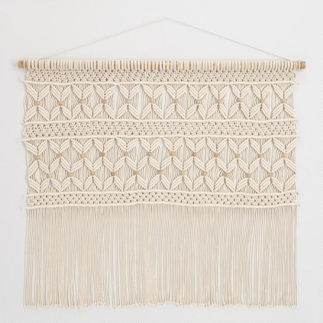 White Macrame Wall Hanging With Wood Beads