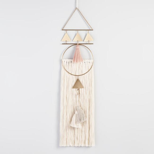 Gold Metal and Fringe Wall Hanging With Tassels