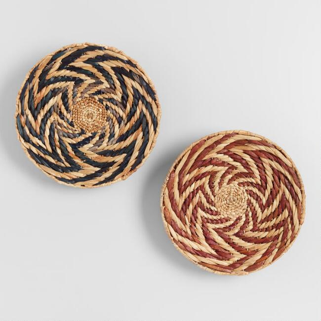 Red and Black Water Hyacinth Disc Wall Decor Set of 2