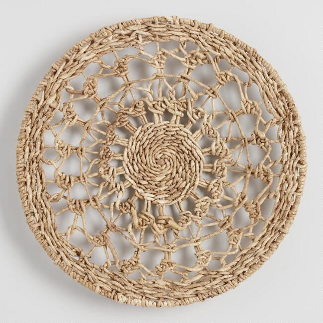 Natural Woven Banana Bark Disc Wall Decor
