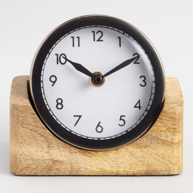 Round Black Clock With Wood Stand