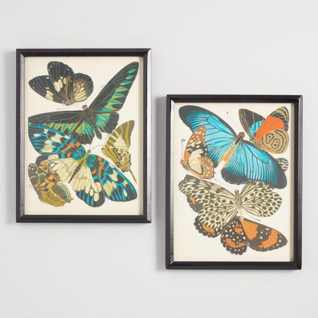Papillons By Emile-Allain Seguy Framed Wall Art Set of 2
