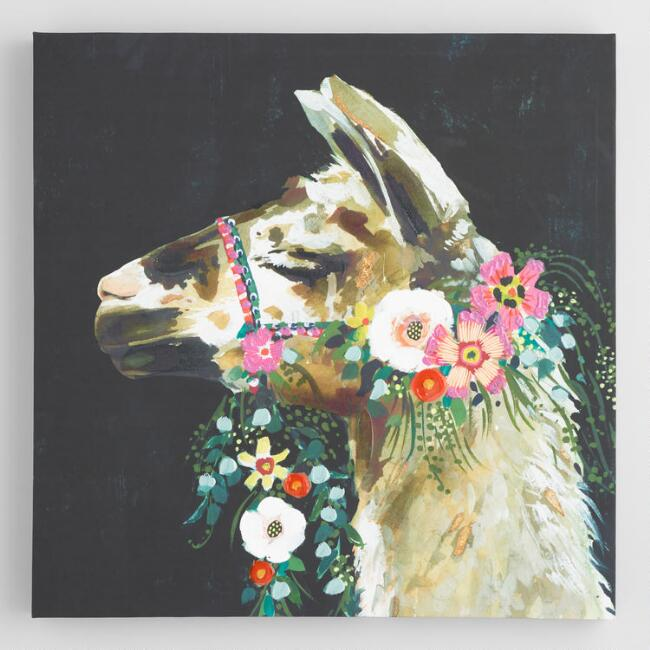 Spring Llama By Victoria Borges Canvas Wall Art