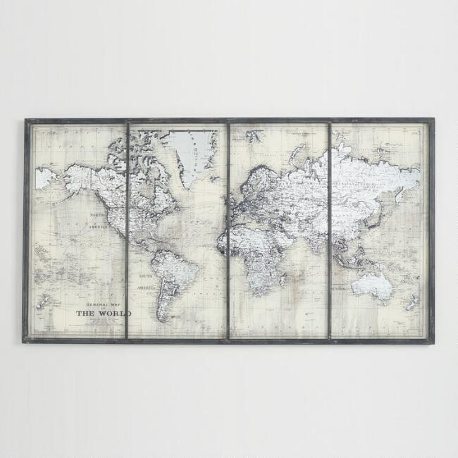 Ivory Mirrored World Map