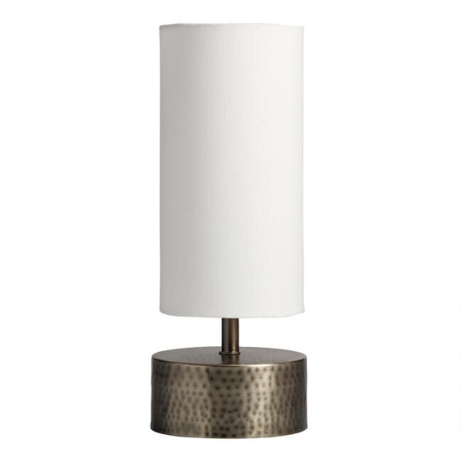 Mid Century Hammered Metal Table Lamp with Linen Shade