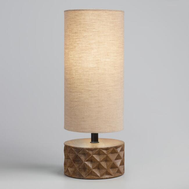 Mid Century Faceted Wood Table Lamp with Linen Shade