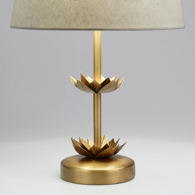 Brass Double Lotus Accent Lamp Base