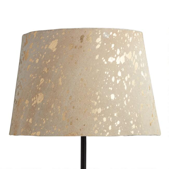 Ivory and Gold Natural Rawhide Accent Lamp Shade