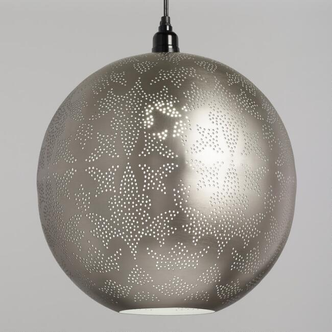 Pewter Pierced Sphere Pendant Shade