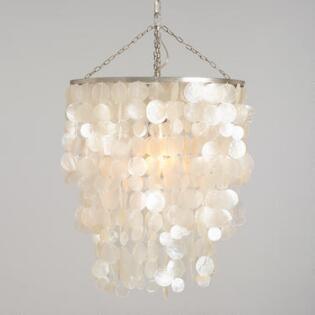 adef02928bf White Capiz Waterfall Chandelier