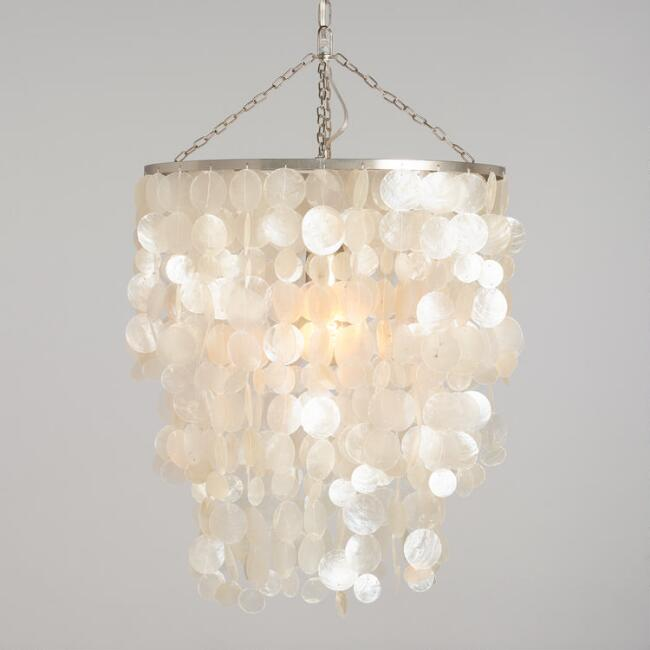 White Capiz Waterfall Chandelier