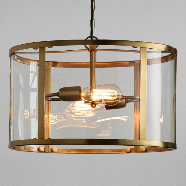 Glass and Antique Brass Oval 2 Light Chandelier