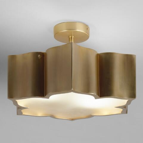 Br And Gl Lotus 2 Bulb Flush Mount Ceiling Light