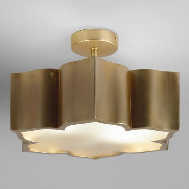 Brass and Glass Lotus 2 Bulb Flush Mount Ceiling Light