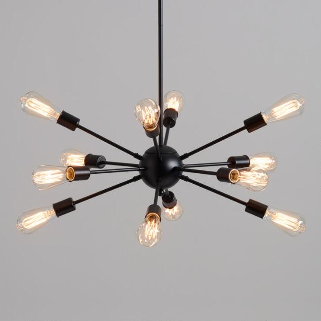 Matte Black 12 Arm Sputnik Chandelier