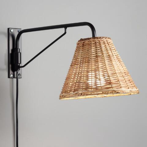 Black Swiveling Wall Sconce With Wicker Shade