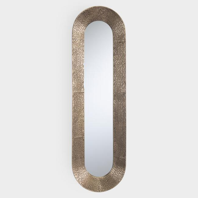 Antiqued Pewter Hammered Concave Oblong Mirror
