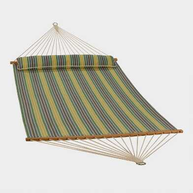 Spring Green Stripe Double Hammock with Pillow