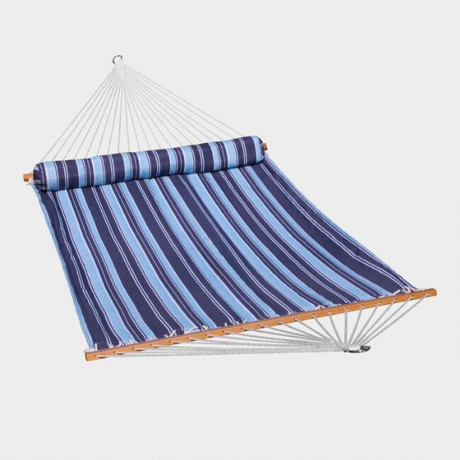 Blue Stripe Quilted Double Hammock with Pillow